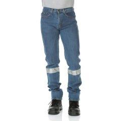 Workit Classic Fit Stonewash Rigid Taped Denim Jeans - Denim