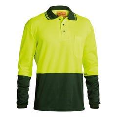 Bisley 2 Tone Hi Vis Polo Shirt - Long Sleeve - Yellow / Bottle