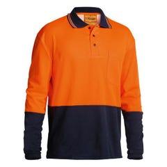 Bisley 2 Tone Hi Vis Polo Shirt - Long Sleeve - Orange / Navy