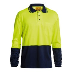 Bisley 2 Tone Hi Vis Polo Shirt - Long Sleeve - Yellow / Navy