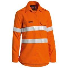 Bisley Women's TenCate Tecasafe Plus 580 Taped Hi Vis Lightweight FR Vented Long Sleeve Shirt - Orange