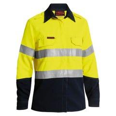 Bisley Womens TenCate Tecasafe Plus 700 Taped Two Tone Hi Vis FR Vented Long Sleeve Shirt - Yellow / Navy