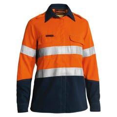 Bisley Women's TenCate Tecasafe Plus 580 Taped Two Tone Hi Vis Lightweight FR Vented Long Sleeve Shirt - Orange / Navy