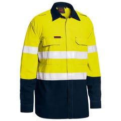 Bisley Tencasafe Plus 480 Taped Hi Vis Lightweight FR Vented Shirt - Yellow / Navy