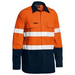 Bisley Tencasafe Plus 480 Taped Hi Vis Lightweight FR Vented Shirt - Orange / Navy