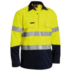 Bisley Tecasafe Plus Taped Hi Vis Closed Front Vented Shirt - Yellow / Navy