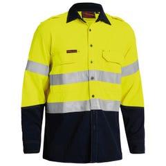 Bisley Tencasafe Plus 700 Taped Hi Vis FR Vented Shirt - Yellow / Navy