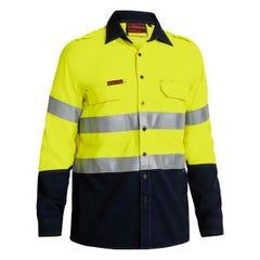 Bisley Tencasafe Plus 580 Taped Hi Vis FR Vented Shirt - Yellow / Navy