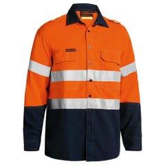 Bisley Tencasafe Plus 580 Taped Hi Vis FR Vented Shirt - Orange / Navy