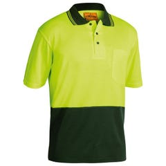 Bisley 2 Tone Hi Vis Polo Shirt - Short Sleeve - Yellow / Bottle
