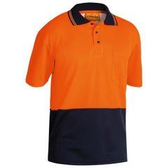 Bisley 2 Tone Hi Vis Polo Shirt - Short Sleeve - Orange / Navy