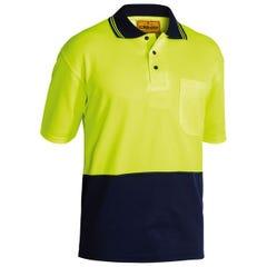Bisley 2 Tone Hi Vis Polo Shirt - Short Sleeve - Yellow / Navy