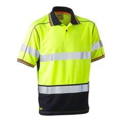 Bisley Taped Two tone Hi Vis Polyester Mesh Short Sleeve Polo Shirt - Yellow / Navy