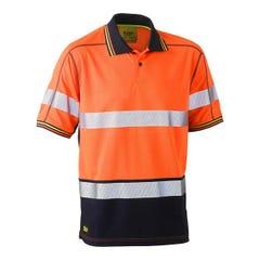 Bisley Taped Two tone Hi Vis Polyester Mesh Short Sleeve Polo Shirt - Orange / Navy