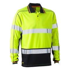 Bisley Taped Two Tone Hi Vis Polyester Mesh Long Sleeve Polo Shirt - Yellow / Navy