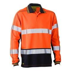 Bisley Taped Two Tone Hi Vis Polyester Mesh Long Sleeve Polo Shirt - Orange / Navy