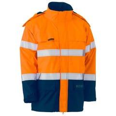 Bisley Taped Hi Vis FR Wet Weather Shell Jacket - Orange / Navy
