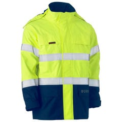 Bisley Taped Hi Vis 2 Tone FR Wet Weather Shell Jacket - Yellow / Navy