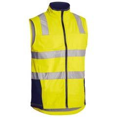 Bisley Taped Hi Vis Soft Shell Vest - Yellow / Navy