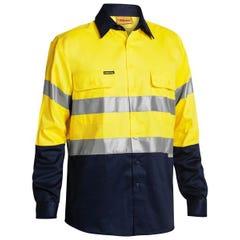 Bisley 2 Tone Hi Vis Shirt 3M Reflective Tape - Long Sleeve - Yellow / Navy