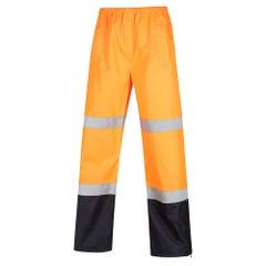 Workit Hi-Vis Wet Weather 2 Tone Taped Rain Pants - Orange / Navy