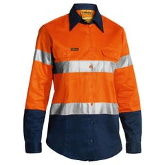 Bisley 2 Tone Womens Hi Vis Drill Shirt 3M Reflective Tape - Long Sleeve - Orange / Navy