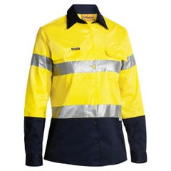Bisley 2 Tone Womens Hi Vis Drill Shirt 3M Reflective Tape - Long Sleeve - Yellow / Navy