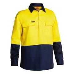 Bisley 2 Tone Closed Front Hi Vis Drill Shirt - Long Sleeve - Yellow / Navy