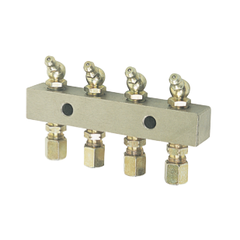 Alemlube Header Block 4 Outlet C/w 6mm Fittings And Grease Nipples 45deg