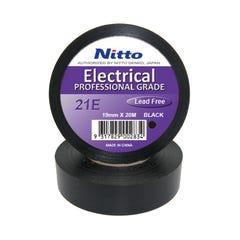 Nitto Vinyl Adhesive Tape 21E Black 19mm x 20m Roll