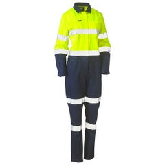 Bisley Womens Taped Hi Vis Cotton Drill Coverall - Yellow / Navy