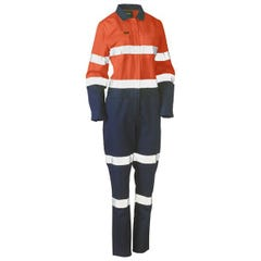 Bisley Womens Taped Hi Vis Cotton Drill Coverall - Orange / Navy
