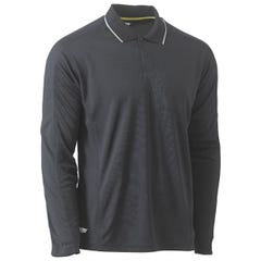 Bisley Cool Mesh Long Sleeve Polo with Reflective Piping - Charcoal