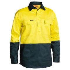 Bisley 2 Tone Closed Front Hi Vis Drill Shirt - Long Sleeve - Yellow / Bottle