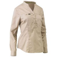 Bisley Womens Stretch V-Neck Closed Front Shirt - Stone