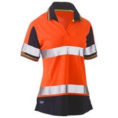 Bisley Womens Short Sleeve Taped Two Tone Hi Vis V-Neck Polo - Orange / Navy