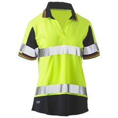 Bisley Womens Short Sleeve Taped Two Tone Hi Vis V-Neck Polo - Yellow / Navy