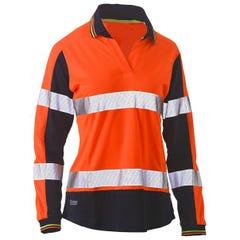 Bisley Womens Long Sleeve Taped Two Tone Hi Vis V-Neck Polo - Orange / Navy