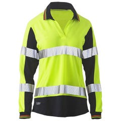 Bisley Womens Long Sleeve Taped Two Tone Hi Vis V-Neck Polo - Yellow / Navy