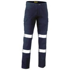 Bisley Taped Biomotion Stretch Cotton Drill Cargo Pants - Navy