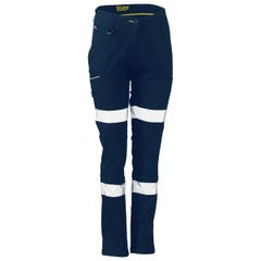 Bisley Womens Taped Stretch Cotton Pants - Navy