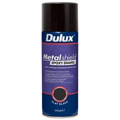 Dulux Metalshield Flat Black Epoxy Enamel Spray Paint 300g