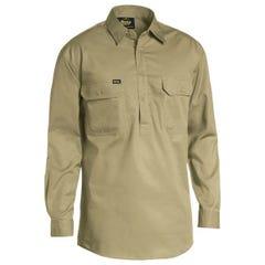 Bisley Closed Front Cotton Light Weight Drill Shirt - Long Sleeve - Khaki