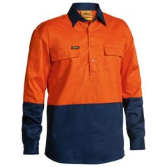 Bisley 2 Tone Closed Front Hi Vis Drill Shirt - Long Sleeve - Orange / Navy