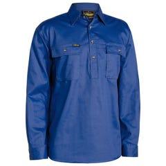 Bisley Closed Front Cotton Drill Shirt - Long Sleeve - Royal