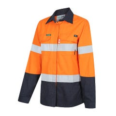 Workit FR PPE2 PARVOTEX Womens Inherent 215gsm Ripstop Taped Shirt - Orange / Navy
