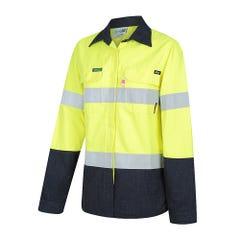 Workit FR PPE2 PARVOTEX Womens Inherent 215gsm Ripstop Taped Shirt - Yellow / Navy