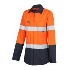 Workit FR PPE1 FLAREX Womens FR Inherent 155gsm Lightweight Taped Shirt - Orange / Navy