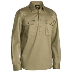 Bisley Closed Front Cotton Drill Shirt - Long Sleeve - Khaki