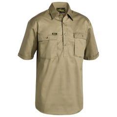 Bisley Closed Front Cotton Drill Shirt - Short Sleeve - Khaki
